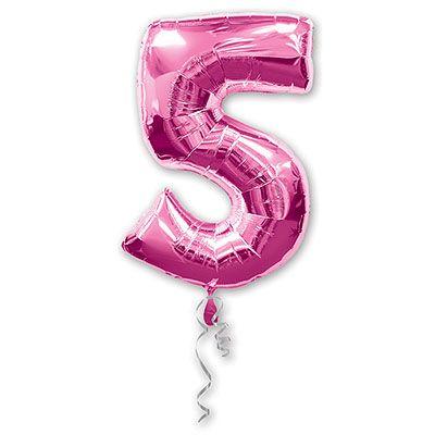 Шар-фигура Цифра 5 Розовая