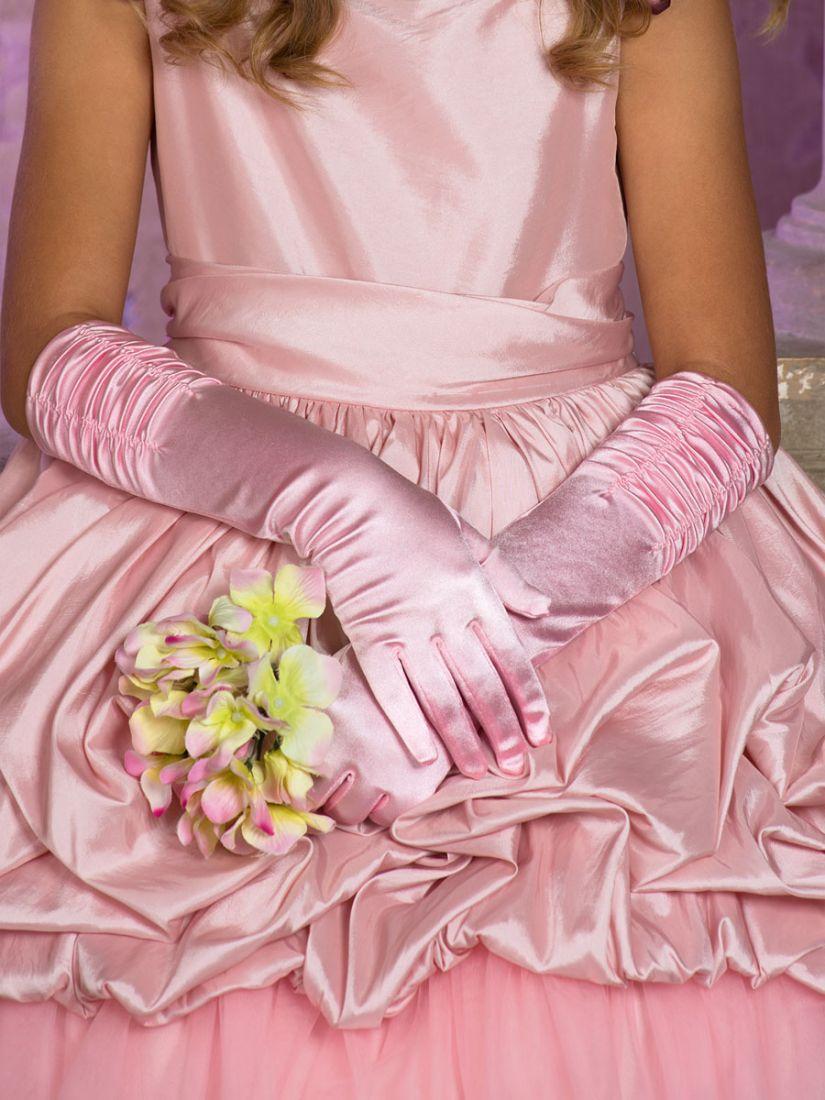 Розовые перчатки для девочек 4-6 лет