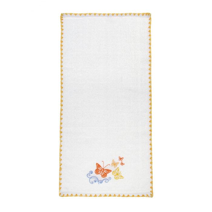 Белое махровое полотенце Бабочки