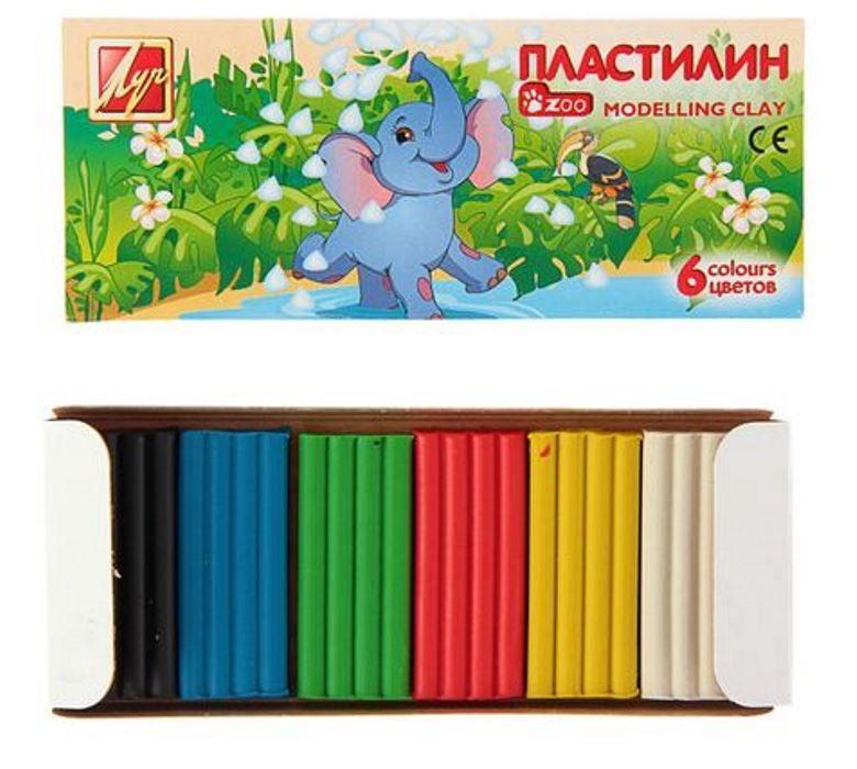 Цветной пластилин Слоненок 6 цветов