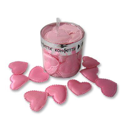 Конфетти Сердца 3D тканевые розовые,35шт