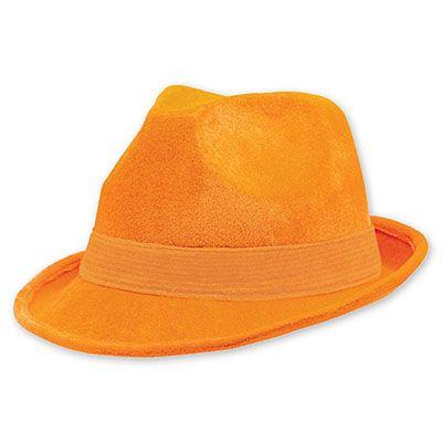Шляпа-федора велюр Оранжевая