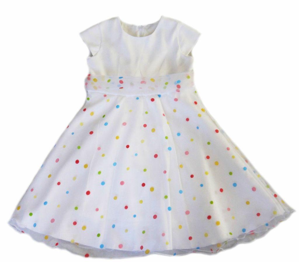 Нарядное белое платье в горошек