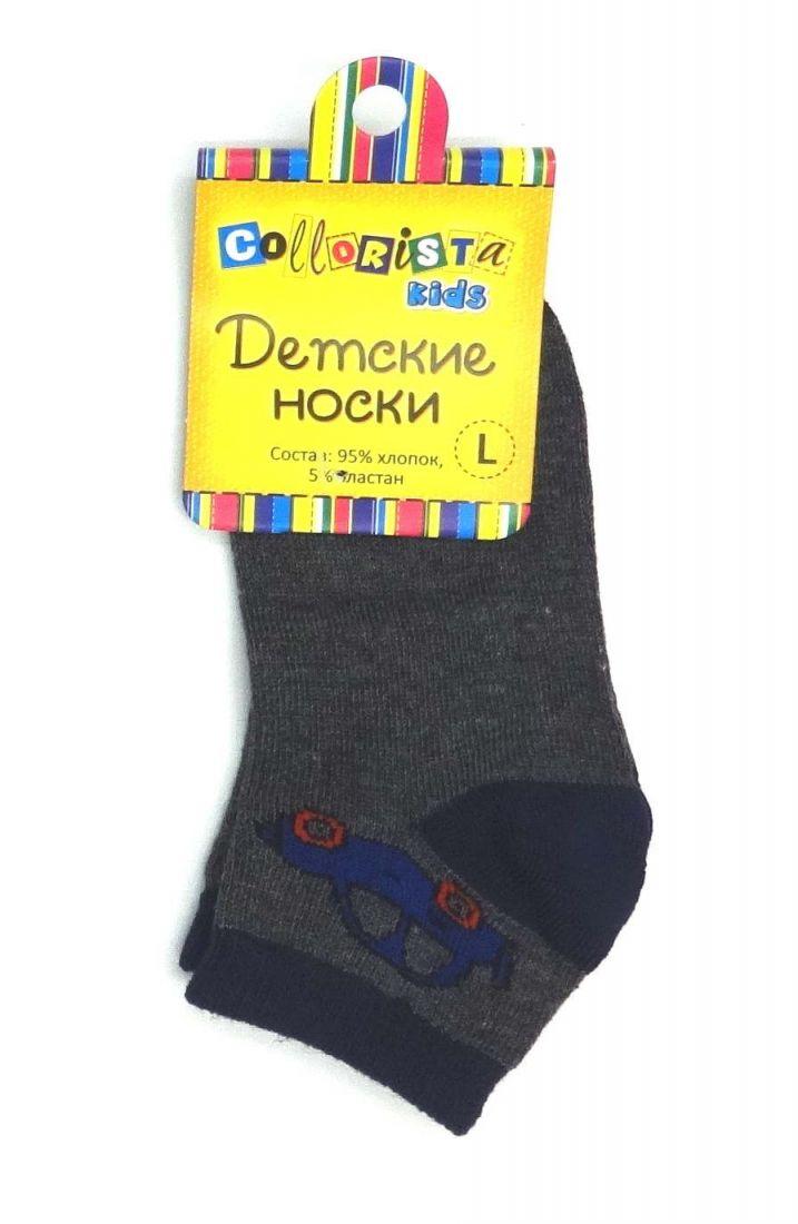 Серые носки Машина для мальчика 2-3 лет